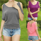 Women Lady Casual Summer Off Shoulder Short Sleeve T-Shirt Tops Loose Blouse 10o