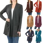 Внешний вид - Womens Open Front Fly Away Cardigan Sweater Long Sleeve With Pockets Loose Drape