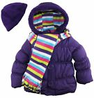 Pink Platinum Baby Girls Puffer Coat with Stripe Scarf and Hat 18 Months