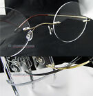 Rimless Titanium Reading glasses small round geek style 43-22 Gold/silver/gray