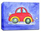 Vroom Red Car Transportation, Prints or Canvas Wall Art Decor, Kids Baby Nursery