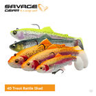 Savage Gear 4D Rattle Trout Shad Lures - Pike Zander Salmon Predator Fishing