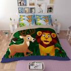 Cartoon Cute Lion and Deer Kid's' Gift Quilt/Duvet Cover Queen/King Size Bed Set