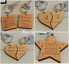 PERSONALISED Wooden Keyrings Unusual GIFT Ideas For HIM HER ROMANTIC Birthday