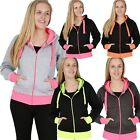Sale Womens Fluorescent Contrast Panel Zipup Plain hoodie Ladies Neon Panel Top
