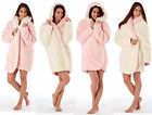 Ladies Womens Fleece Dressing Gown Hood Fluffy Short Robe Reversible Pink Cream