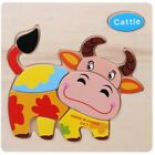 3D Puzzle Jigsaw Wooden Toys Kids Children Educational Cartoon Animal Puzzles