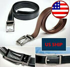 """Men's Comfort Click Belt Leather With Steel Brown And Black 28""""-48"""" US SHIP!"""