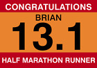 Personalised Congratulations half marathon running card Race number style A5