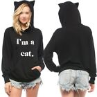Women's Casual Sweater Letter Print 'I AM A Cat' Ear Pullover Hoodie Tops Lot