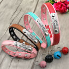 Custom Personalized Dog Collar Leather Pet Cat Name Plate Collars ID Tag XS S M