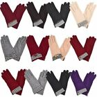 Ladies Dog Tooth Print Leather Bow Button Detail New Wool Winter Gloves