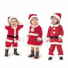 Baby Boy Girl First Christmas Santa Claus Costume Dress Outfit WARM Clothes Set