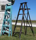 """1 Antique Step Ladder With 6 Steps 64"""" Tall - Pick 35 Colors X Style Back"""
