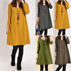 Womens Oversized Long Sleeve Tunic Loose Baggy Tops Jumper Dress Kaftan Winter