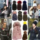 New Ladies Coloured Faux Fur Pom Pom Wool Textured Customizable Hats