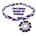 "Titanium Tornado Sports Braided Rope Necklace 18"" 20"" 22"" PURPLE BLACK WHITE"
