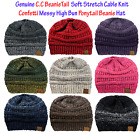 CC BeanieTail CONFETTI Soft Stretch Cable Knit Messy High Bun Ponytail Beanie