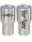 Nurse Heartbeat Personalized Name 2 Pc Vinyl Decal Sticker Cup Tumbler Choice