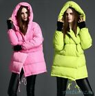 Womens Down Coat Hooed Yellow Pink Loose Warm Jacket Short Comfort Duck Down New