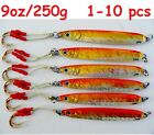 1-10 pcs Knife Jigs 9oz /250g Orange Vertical Butterfly Saltwater Fishing Lures