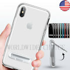PC TPU Stand Case Slim Crystal + Hard Frame Cover Kick Clear Soft For iPhone X