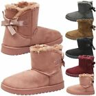 KIDS GIRLS WINTER WARM SNUGG FUR LINED INFANTS BOOTS BOW STYLE SIZE