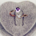 18K Rose Gold Plated Adjustable  Rings Twin Zircon Stone Crystal Engagement