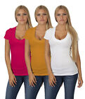 Active Basic Women's Deep V-Neck Short Sleeve T Shirts - Junior Sizes