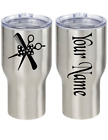 Scissor Comb Bow Hair Stylist Name Vinyl Decal Sticker 2 Pcs Cup Tumbler Choice