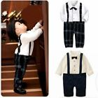 Baby Toddler Boy Wedding Christening Tuxedo Formal Suit Outfit Clothes One Piece