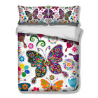 Butterfly Twin/Full/Queen/King Duvet Cover Pillowcases Bedding Set New Colorful