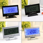 Voice Control LCD Alarm Desk Clock Weather Monitor Calendar With Thermometer