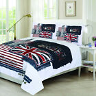 Luxury PolyCotton Panel Print Premium Duvet Cover Set Bedding Set London Design