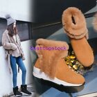 Womens Cow Suede Shoes Ankle Snow Boot Real Fur Trim Side Zip Flat Winter Warm