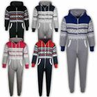 Kids Girls Boys Aztec Snowflake Hooded A2Z Onesie One Piece All In One Jumpsuits