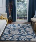 Tayse Madison Woven Soft Polyproplyene Floral Traditional Navy Rug MDN3407