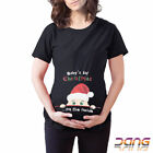 Baby's 1st Christmas on the side Maternity Xmas T-shirt Pregnancy Tee Top Tshirt