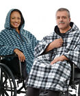 ADAPTIVE Disabled Wheelchair Fleece plaid Cape REVERSIBLE...