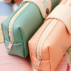 Student Leather Cosmetic Makeup Bag Pen Pencil Stationery Case Zipper Pouch Box