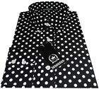 Relco Men's Black & White Polka Dot Spots Long Sleeved Button Down 60's Shirt