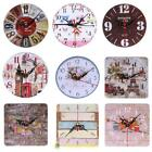 Vintage Rustic Wooden Wall Clock Antique Shabby Chic Retro Home Kitchen Decor SS