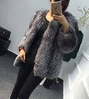 100% Real Silver Fox Fur Coat Top Warm Full Pelt Real Jacket For Women Xmas Gift