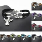 Antique Silver Angel With Wings Charm Pendant Infinity Love Leather Bracelet