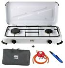 Portable Double Gas Stove 2 Burner Outdoor Camping LPG Cooker Lid 3.4kW NJ-02 UK