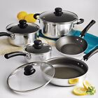 Nonstick 18-Piece 9-PC Pots And Pans Cookware Set Cooking Kitchen Red Polished