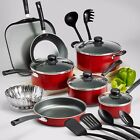 Nonstick 18 Piece 9 PC Pots And Pans Cookware Set Cooking Kitchen Red Polished