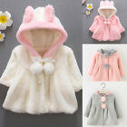 Baby Girls Hooded Coat Jacket Toddler Kids Plush Outfit Rabbit Ear Hoodies 0-4Y.