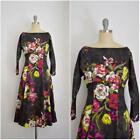 Vintage Inspired 1950s Style Kelly Rome Grey Long Sleeve Floral Dress