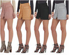 Women's Vintage High Waist Lace Up Suede Leather Pocket Preppy Short Mini Skirt